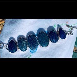 Beautiful BLUE Lapis Lazuli diamond cut 925 silver